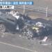 新響灘大橋大型ショベル事故車画像ぐしゃぐしゃの廃車、運転席がえぐれてスクラップに(北九州青橋)